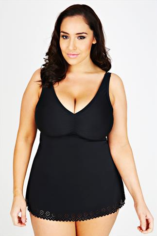 Swim Dresses TUMMY CONTROL Black Cut Out Detail Swimdress 054339
