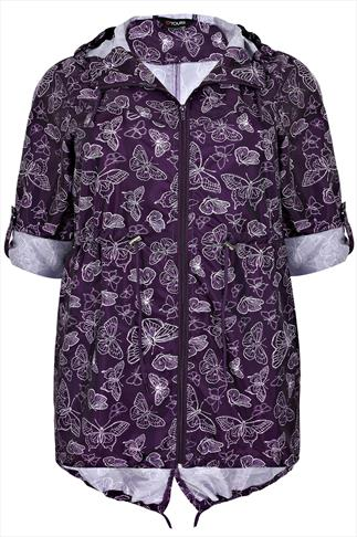 Purple Butterfly Print Shower Resistant Pocket Parka Jacket With Hood