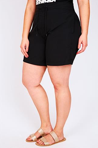 Black Board Shorts With Drawstring Waist 055444