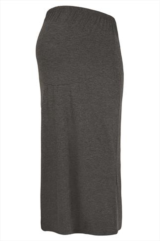 BUMP IT UP MATERNITY Grey Tube Maxi Skirt With Comfort Panel