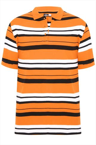 Orange, White & Black Stripped Short Sleeve Polo Shirt