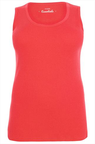Coral Ribbed Cotton Vest