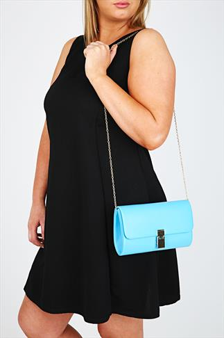Blue Clutch With Gold Metal Fastening And Detachable Chain