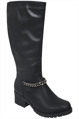 Black Long Boots With Block Heel & Chain Detail In EEE Fit