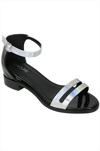 Black And Silver Patent Sandals With Low Block Heel In EEE Fit