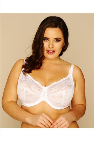 White Stretch Lace Non-Padded Underwired Bra 019945