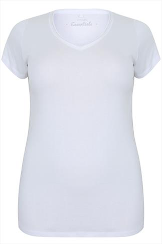 White Short Sleeved V-Neck Basic T-Shirt