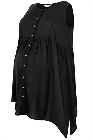 BUMP IT UP MATERNITY Black Button Up Trapeze Top With Crochet Back Panel