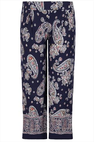 Navy Paisley Print Wide Leg Trousers