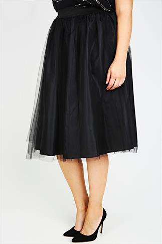 SCARLETT & JO Black Netted Tulle Skirt