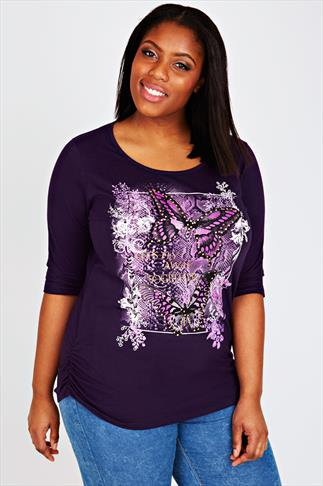 Purple Butterfly Print T-Shirt With 3/4 Length Sleeves