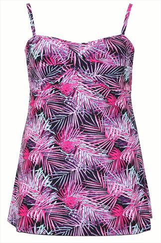 TUMMY CONTROL Black & Pink Palm Swimdress