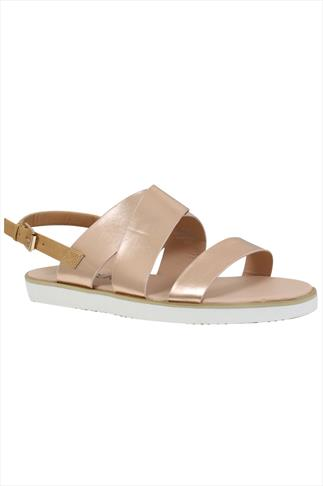 Metallic Three Strap Flat Sandals With Contrast Back Strap In EEE Fit