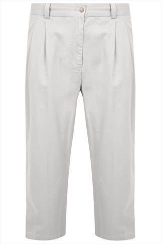 Stone Stretch Waist Chino Trousers With Pleats