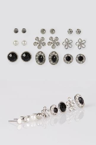 Earrings 9 PACK Silver Mixed Stud Earrings 152371