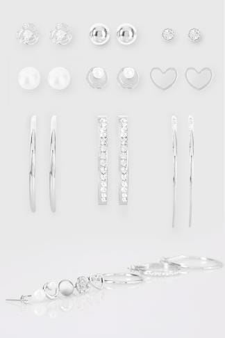 Earrings 9 PACK Silver Stud & Hoop Earrings 152450