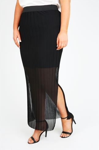 Black Pleated Maxi Skirt With Side Slits