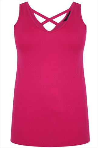 Magenta Pink V-neck Vest With Cross Back