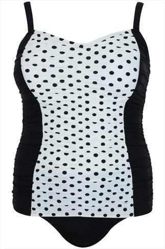 Black & Cream Vintage Polka Dot Swimsuit With Ruched Panels