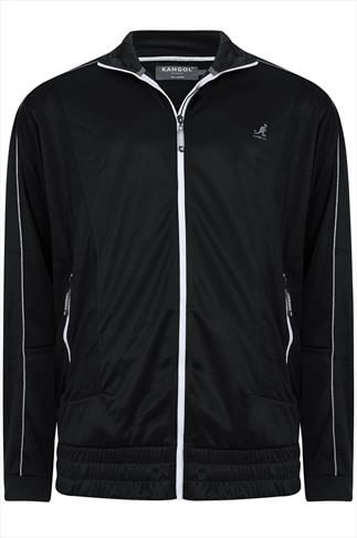 Kangol Black Zip Up Sweat Top With High Collar