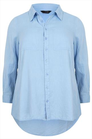 Blue Chambray Cotton Boyfriend Button-Up Shirt With Dip Back