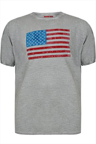 D555 Grey Vintage Wash Short Sleeve T-Shirt With USA Flag Print