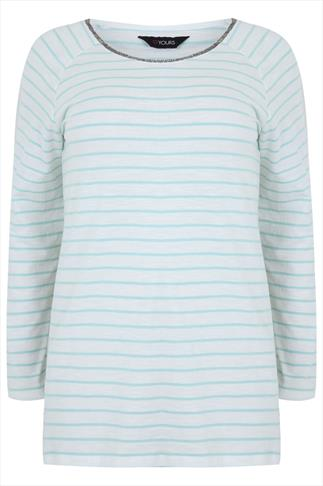 White & Pastel Mint Striped Top With Beaded Neckline
