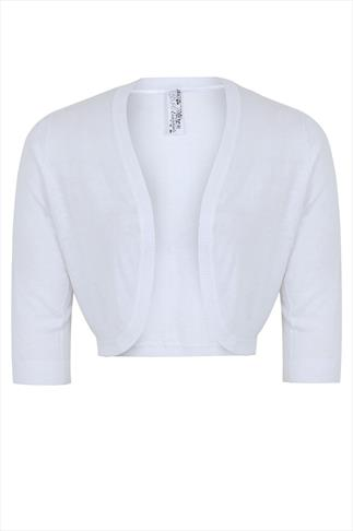 White 3/4 Sleeve Curved Hem Fine Knit Shrug