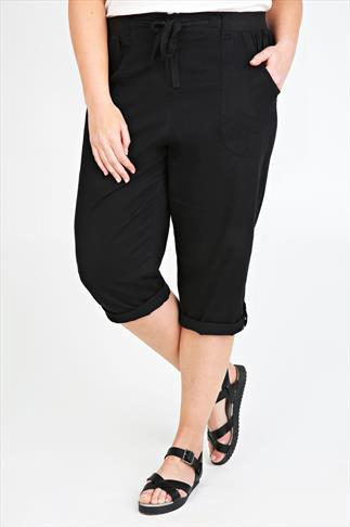 Black Cotton Twill Crop Roll Up Trousers