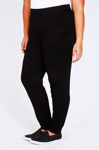 Black Jersey Harem Trousers