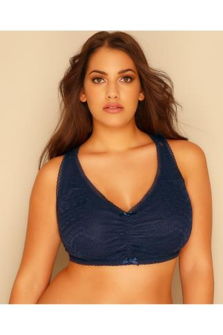 Non-Wired Bras Navy All Over Lace Racer Back Bralette 101418