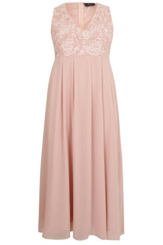 AX PARIS CURVE Blush Pink Maxi Dress With Lace Overlay ...