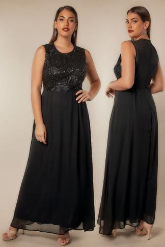 Maxi Dresses AX PARIS CURVE Black Chiffon Maxi Dress With Embellished Sequin Bodice 138748