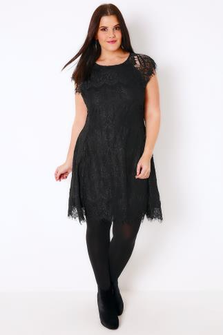 AX PARIS CURVE Black Eyelash Lace Dress