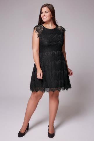 AX PARIS CURVE Black Eyelash Lace Dress 103327