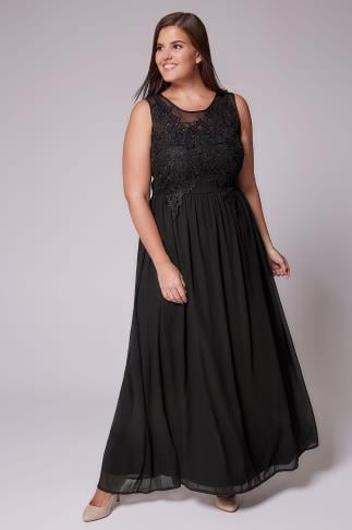 Maxi Dresses AX PARIS CURVE Black Maxi Dress With Mesh Neckline & Crochet Detail 103316