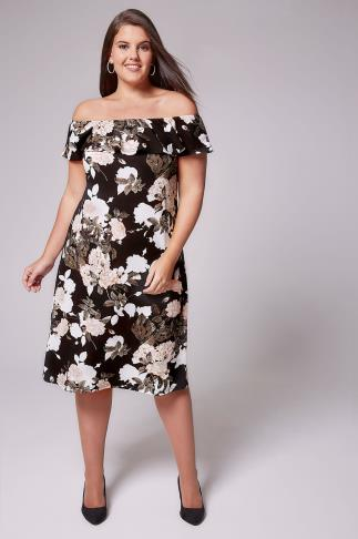 AX PARIS CURVE Black & Multi Floral Frill Bardot Dress 138263