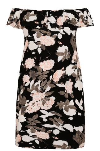 AX PARIS CURVE Black & Multi Floral Frill Bardot Dress