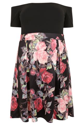 AX PARIS CURVE Black & Multi Floral Print Bardot Skater Dress