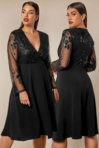 Black Dresses AX PARIS CURVE Black Sequin Embellished Midi Dress 138751