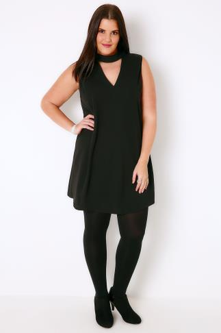AX PARIS CURVE Black Shift Dress With Choker Necklace
