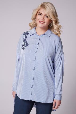 Chemisiers chemises  AX PARIS CURVE Blue & White Pinstripe Shirt With Floral Embroidery 138557