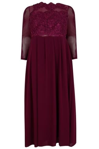AX PARIS CURVE Burgundy Floral embroidered Maxi Dress