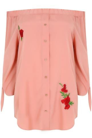 AX PARIS CURVE Dusky Pink Bardot Top With Floral Embroidery