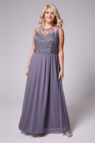 Robes de soiree AX PARIS CURVE Dusky Purple Sleeveless Maxi Dress With Floral Lace Bodice 138562