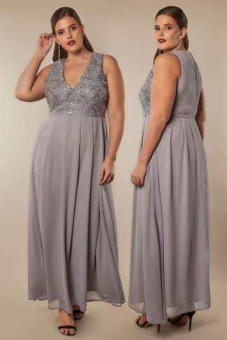 Maxi Dresses AX PARIS CURVE Grey Sequin Maxi Dress 138747