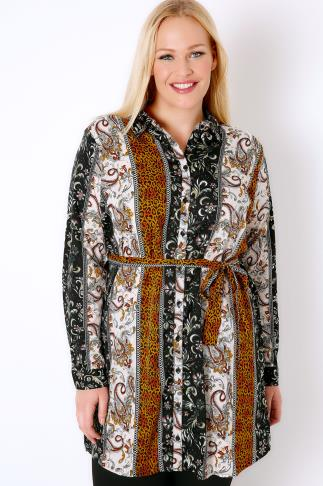 AX PARIS CURVE Multi Animal Print Longline Shirt With Tie Waist