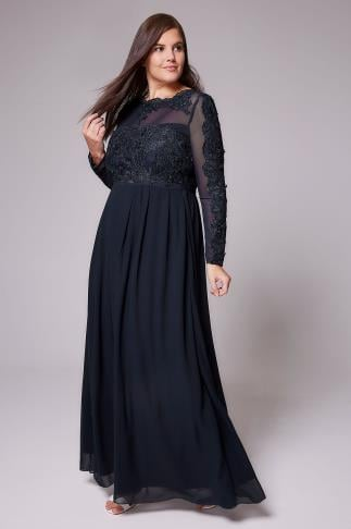 AX PARIS CURVE Navy Chiffon Maxi Dress With Floral Lace Bodice 138267