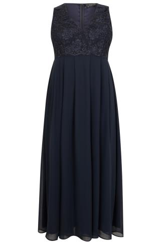 AX PARIS CURVE Navy Maxi Dress With Lace Overlay Bodice