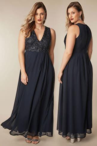 Maxi Dresses AX PARIS CURVE Navy Maxi Dress With Lace Overlay Bodice 138265